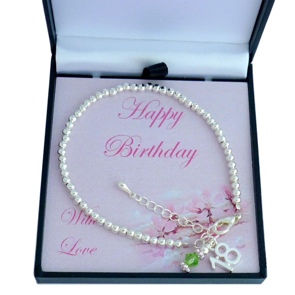 18th Birthday Birthstone Bracelet On Card Mount Jewels 4